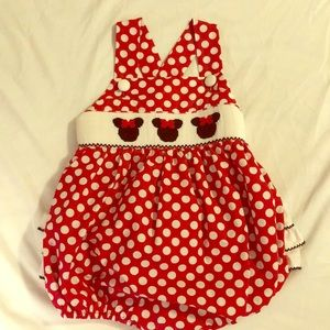Classic Whimsy Minnie Mouse smocked romper 3T